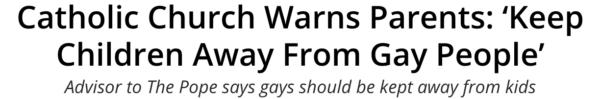 Katholische Kirche warnt vor Schwulen