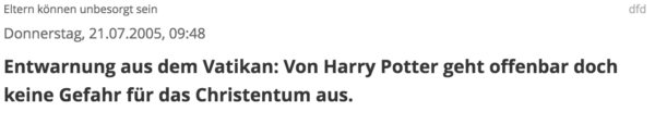 Katholische Kirche zu Harry Potter