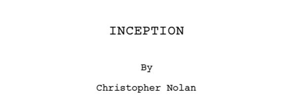 Screenplay zu Inception von Christopher Nolan