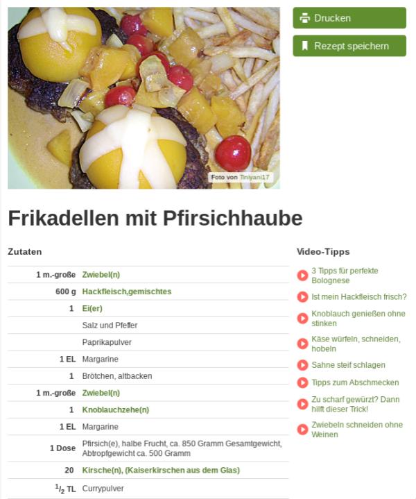 Worst Of Chefkoch: Frikadellen mit Pfirsichhaube