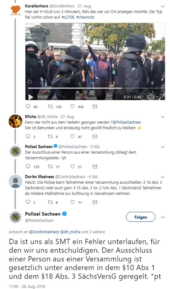 Die Polizei Sachsen lässt sich auf Twitter die Rechtslage erklären