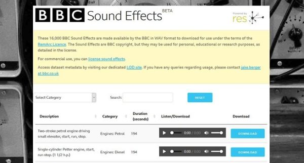 BBC Sound Effects Library
